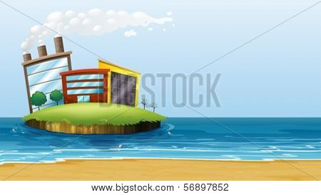 Illustration of a factory in the island at the beach