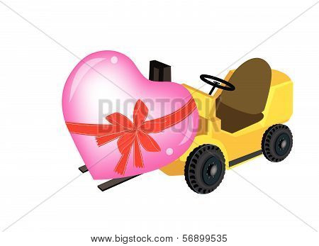 Yellow Forklift Truck Loading A Beautiful Heart