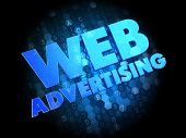Web Advertising - Blue Color Text on Dark Digital Background. poster