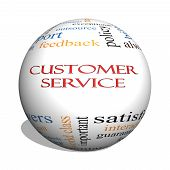 Customer Service 3D sphere Word Cloud Concept with great terms such as call center help staff rep and more. poster