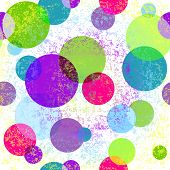 Light grungy seamless colorful rainbow pattern with vivid translucent balls (vector eps 10) poster
