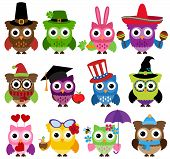 Vector Set of Cute Holiday and Seasonal Owls poster