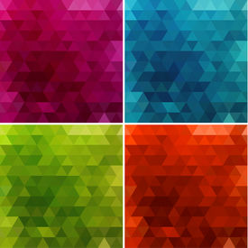 Abstract triangle backgrounds set