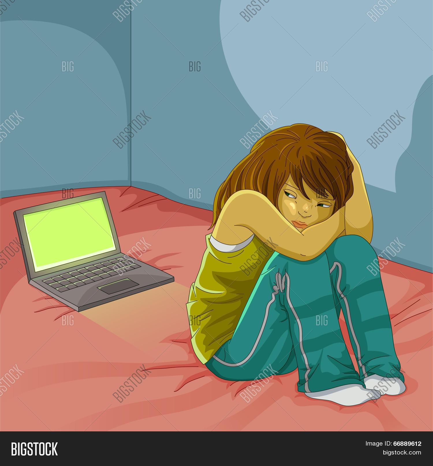 Alone Cartoon Girl sad lonely girl vector & photo (free trial)   bigstock