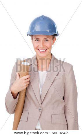 Charismatic Female Architect Holding Blueprints