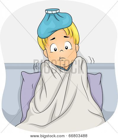 Illustration of a Boy Lying in Bed Due to Fever