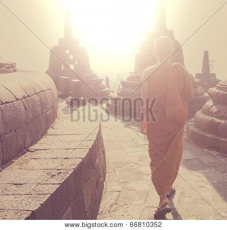 Monk in Barabudur temple, Java, Indonesia