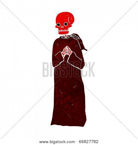 cartoon spooky skeleton in robe