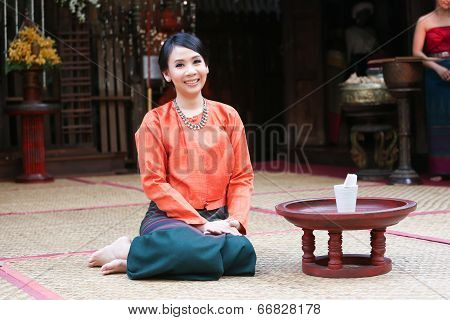 Thai Woman In A Traditional Northern Thai Costume