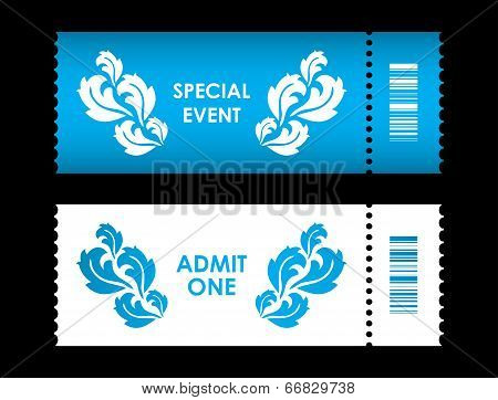 Admit One Ticket With Special Flower Design