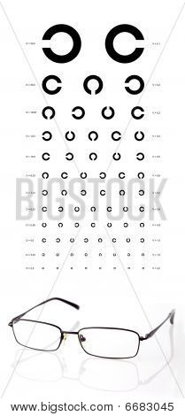 Chart and eyeglasses