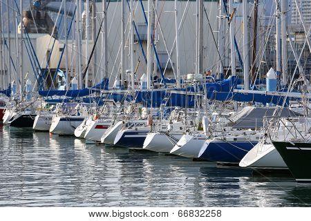 Rear View Of Sailboats At Shimizu Port, Japan