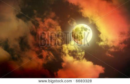 Bright Yellow Full Moon in Sky