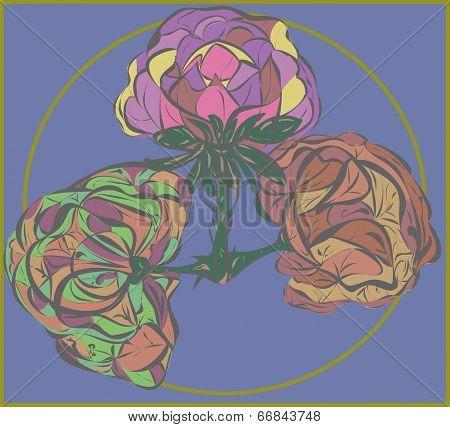 Three Vector Flower On Purple Background