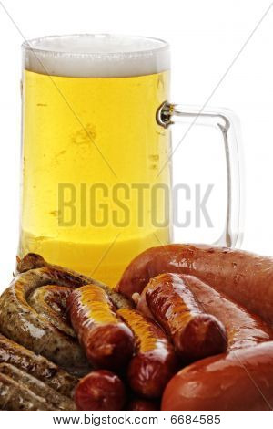 Sausages And Mug Of Beer