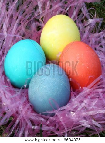 Four colorful Easter eggs