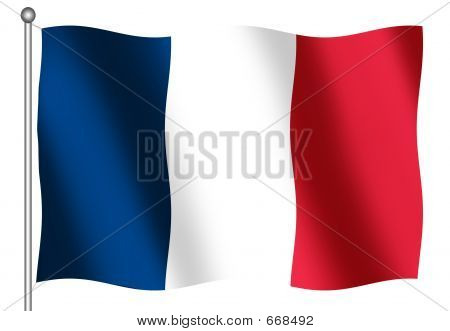 French Flag waving on a white Background poster