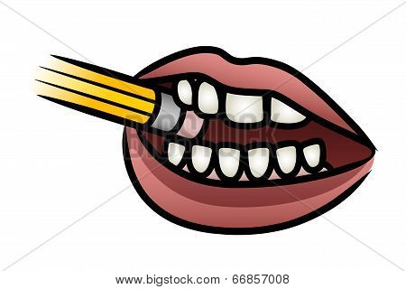 Mouth Chewing A Pencil