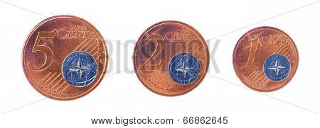 European Union Concept - 1, 2 And 5 Eurocent