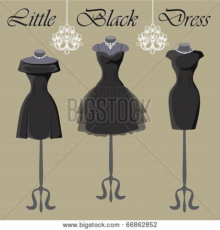Set Of  Three Little Black Dresses.monochrome Composition