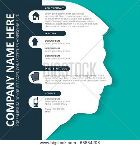 Vector infographic background with silhouette of head, contact icons and a place for text content. Can be used for brochures, posters, flyers and other prints.