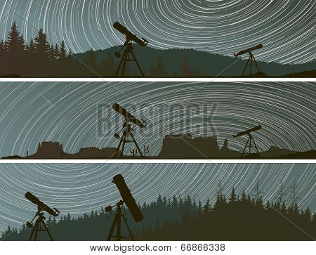 Horizontal Banners Of Stars Trace Circles On The Sky Over The Forest.