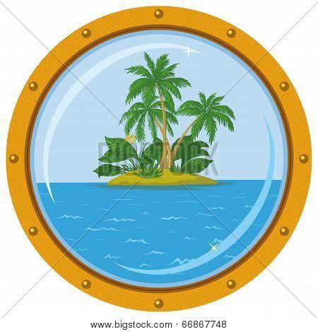 Island with palm and bronze ship window