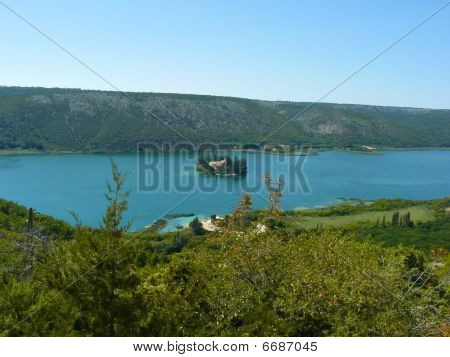The Franciscan monastery on the island of Visovac. Krka National Park. Croatia. poster