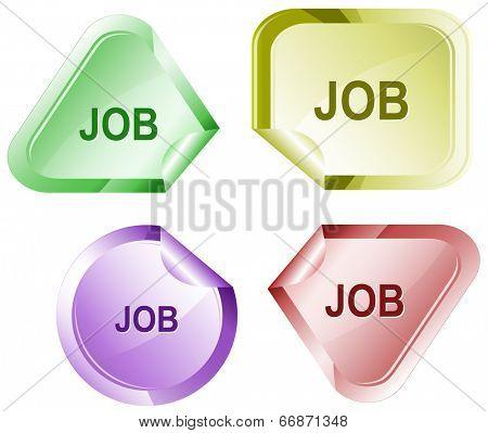 Job. Stickers. Raster illustration.