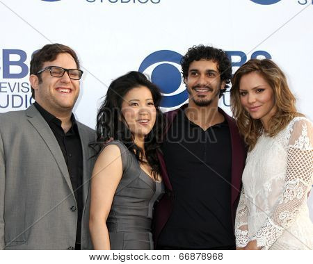 LOS ANGELES - MAY 19:  Ari Stidham, Jadyn Wong, Elyes Gabel, Katharine McPhee at the CBS Summer Soiree at the London Hotel on May 19, 2014 in West Hollywood, CA