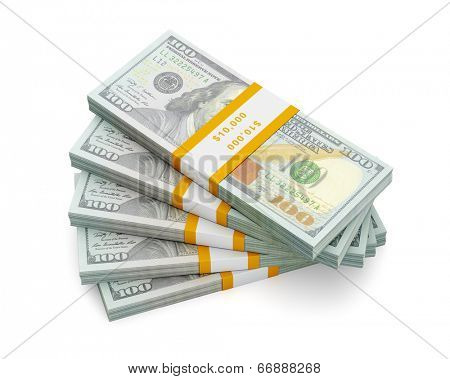 Creative business finance making money concept - stack of new new 100 US dollars 2013 edition banknotes (bills) bundles isolated on white background money stack on white poster