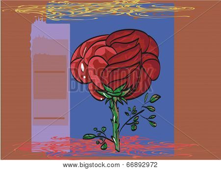 Outlined By A Black Outline Painted Red Rose Greeting Card.
