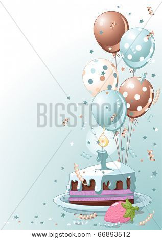 Clipart lustration of a Slice of Birthday Cake with Balloons and Confetti