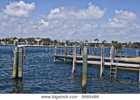 Wooden Pier in Florida Inter-Coastal Waterway