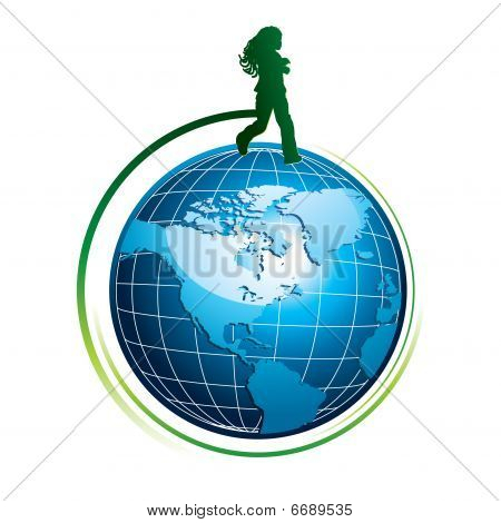Running girl silhouette on globe icon