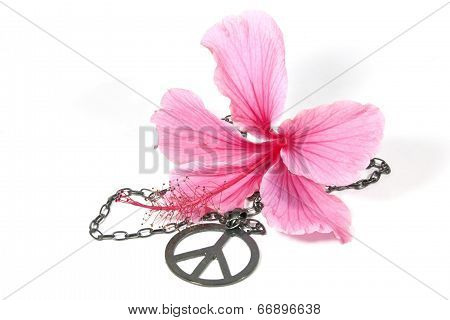 Pink Hibiscus Flower With Silver Peace Pendan