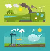 Ecology Concept Vector Illustration for Environment, Green Energy and Nature Pollution Designs. Flat Style. poster