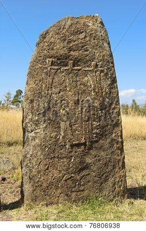 Mysterious megalithic Tiya stone pillars, UNESCO World Heritage Site, Ethiopia. poster