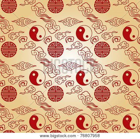 Red and cream Chinese seamless pattern