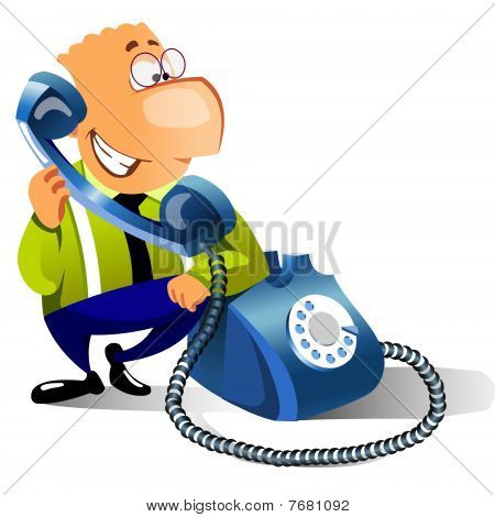 smiling businessman calling on phone