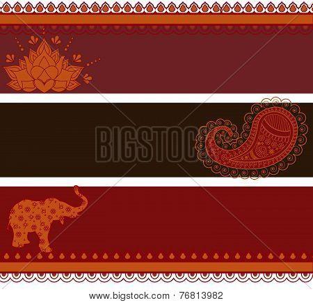 Oriental henna horizontal banners
