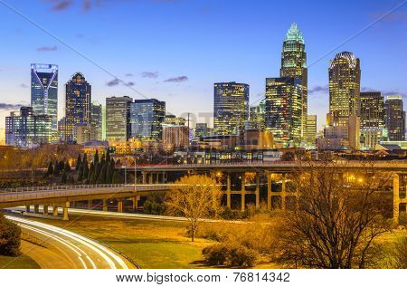 Charlotte, North Carolina, USA downtown skyline.