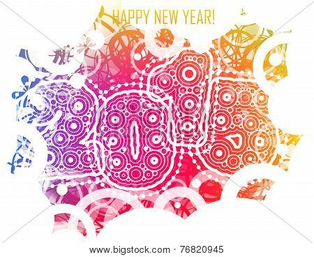 Happy New year 2015 with colorful circles