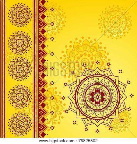 Red and yellow oriental mandala design