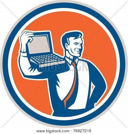 Computer Geek Technician Laptop Circle Retro