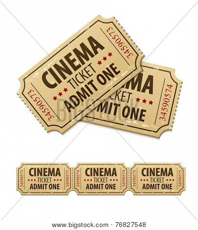 Old cinema tickets for cinema. Eps10 vector illustration. Isolated on white background