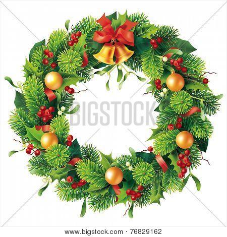 Christmas round wreath on white. Vector eps 10.