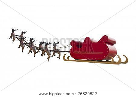 Santa Claus sleigh led by reindeers going to pick Santa Claus up - isolated on white background