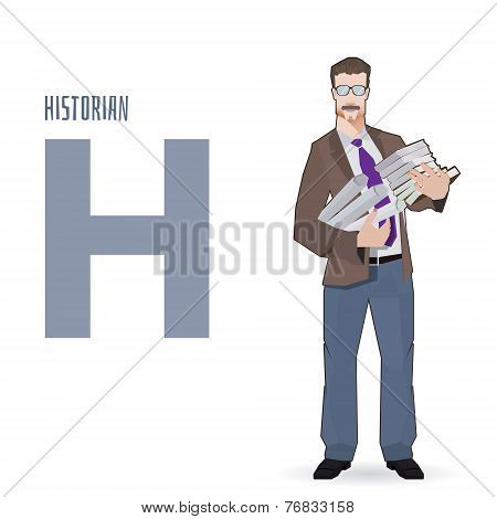 flat vector profession Letter H - historian