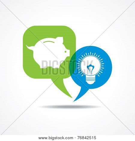 piggy bank and light-bulb in message bubble stock vector